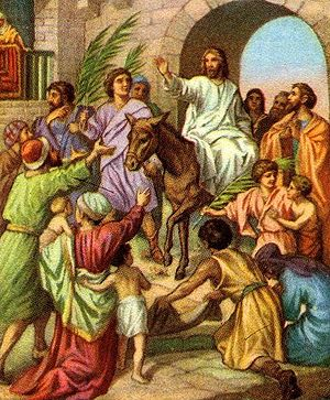 English: Jesus entering Jerusalem on a donkey