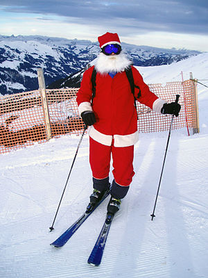 Santa Clause on skies in Adelboden, Switzerland