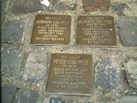 Placa comemorativa de Hermann van Pels, em Osnabrück