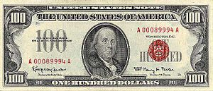 A small size $100 United States Note of Series...