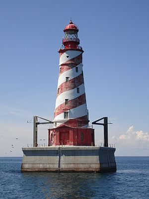 White Shoal Light on Lake Michigan in August, ...