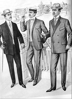 A 1905 fashion plate showing men wearing loung...