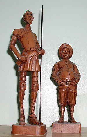 Statues of Don Quixote (left) and Sancho Panza...