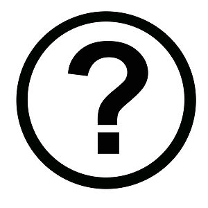 English: Black and white icon of a question mark.