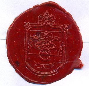 Sello de lacre en sobre, escudo Heraldico de l...