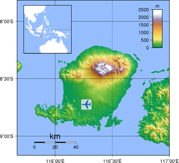 English: Topographic map of Lombok, Indonesia....