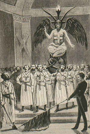 English: Baphomet at a Freemason session. Pict...