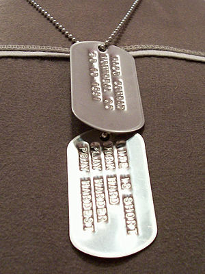 A picture I took of myself wearing dog tags I ...