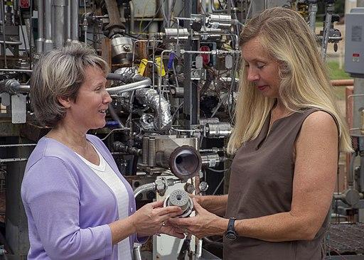 Propulsion engineer Sandra Greene, left, and test engineer Cynthia Sprader