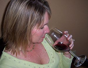 Smelling wine as part of wine tasting
