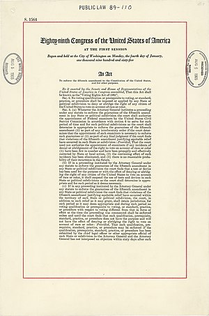 The first page of the Voting Rights Act.