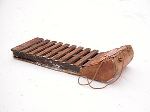 Old fashioned wooden sled (or Toboggan without...