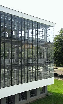 Glass Curtain Wall Of The Bauhaus Dessau 1926