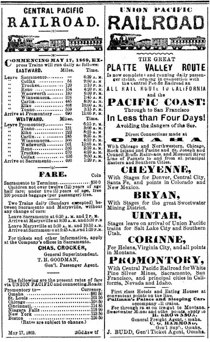 English: Central Pacific Railroad & Union Paci...