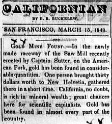 First newspaper announcement, San Francisco, March 15, 1848