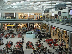 Inside the passenger area of Heathrow Terminal 5.
