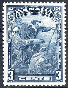 Jacques Cartier   Wikipedia Jacques Cartier on a 1934 Canadian postage stamp