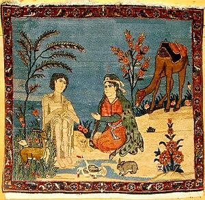 """Keshan carpet, """"Leila en Madschnun"""""""