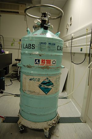 A dewar in which liquid helium is stored.