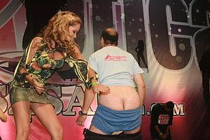 "English: Man getting spanked by ""Princess..."