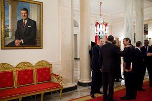 President Barack Obama talks with Michael G. M...