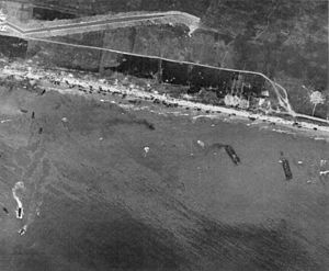"""English: """"aerial view of Omaha Beach, Nor..."""
