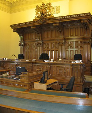 A courtroom (#2) at Osgoode Hall, used by the ...