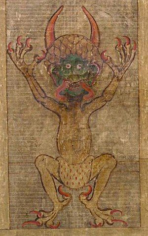 Illustration of the Devil in the Codex Gigas, ...