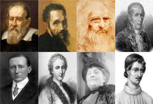 Italians (from top, left to right): Galileo Ga...