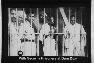 English: Gandhi meeting political prisoners at...