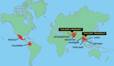 Mapa del cultivo de opio para producción de hero�na