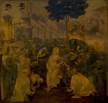 This complex Adoration of the Magi by Leonardo...