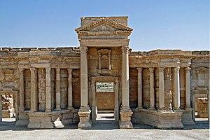 English: The postscaenium wall of the Roman th...