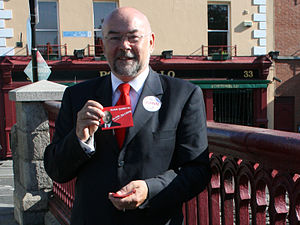 Ruairi Quinn Campaigning for the Dáil on Porto...