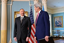 Aliyev and U.S. Secretary of State John Kerry in Washington, D.C., 30 March 2016