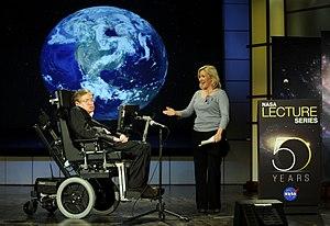 English: Stephen Hawking being presented by hi...