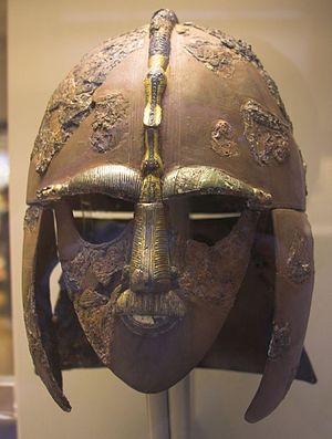 Helmet from the Sutton Hoo ship-burial 1, Engl...
