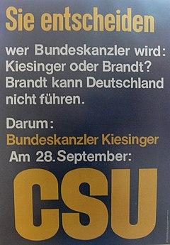 Wahlplakat CSU 1969