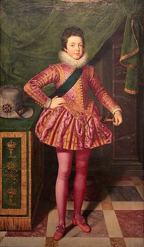 Louis XIII wearing a violet mourning outfit.