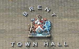 English: Brent Town Hall (detail), Wembley