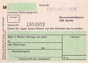 Cheque, East Germany, 1988