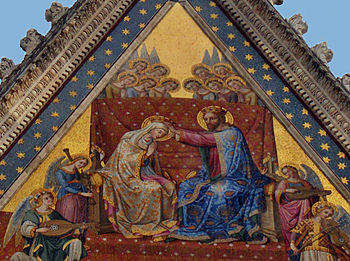 English: Coronation of the Virgin; mosaic on t...