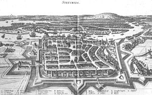 Stettin in 1642 showing the old fortress defenses