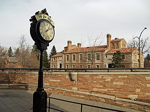 The famous clock on The Hill in Boulder, Colorado.