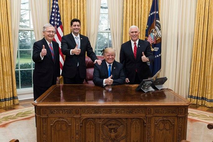 Trump, Pence, Ryan, McConnell celebrate tax cut passage