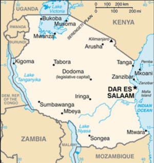 Map of Tanzania, shown with the old capital.