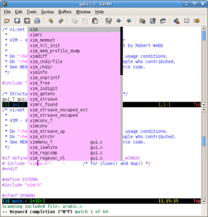 Screenshot of graphical vim (gvim) showing key...