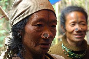 Apatani tribal women, Ziro, Arunachal Pradesh,...