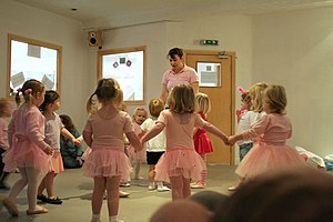Young children at a ballet class. They will le...