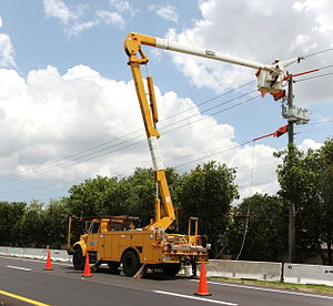 Repairing a power line in Weston, Florida.